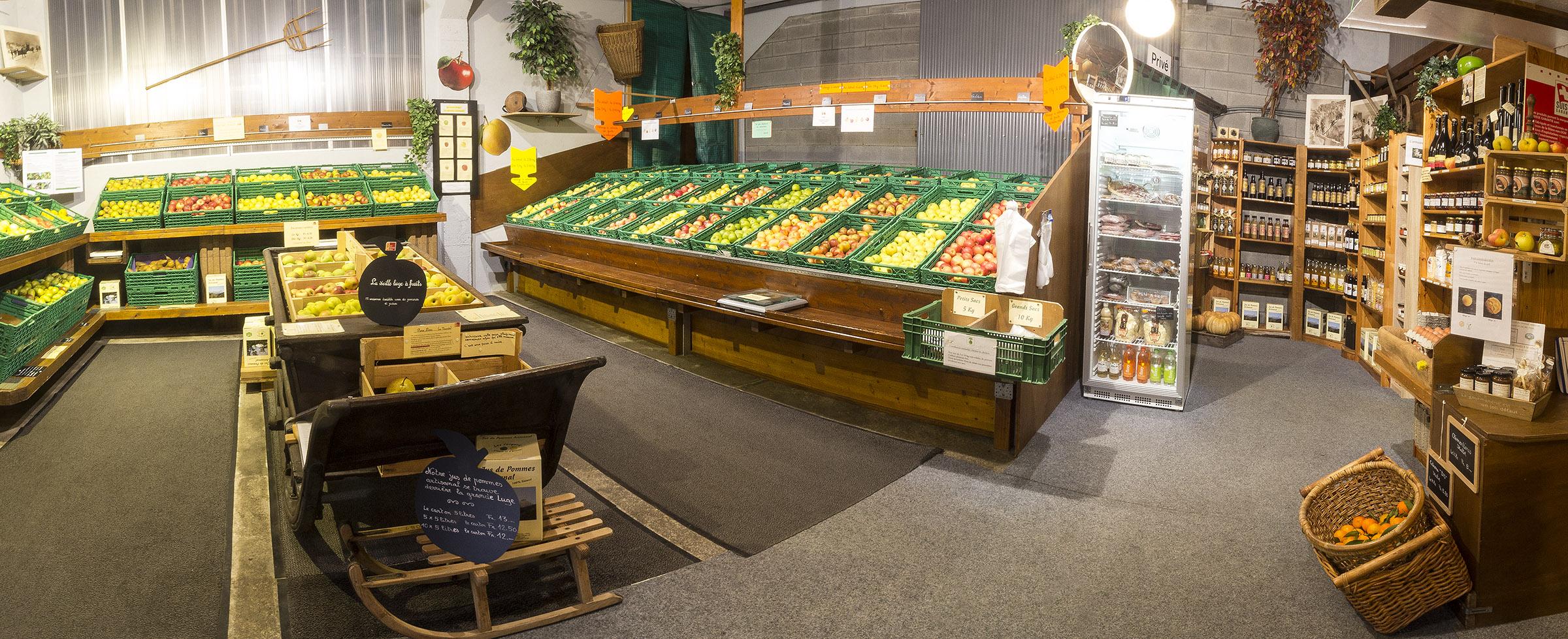 marché à la ferme, vision panoramique du magasin